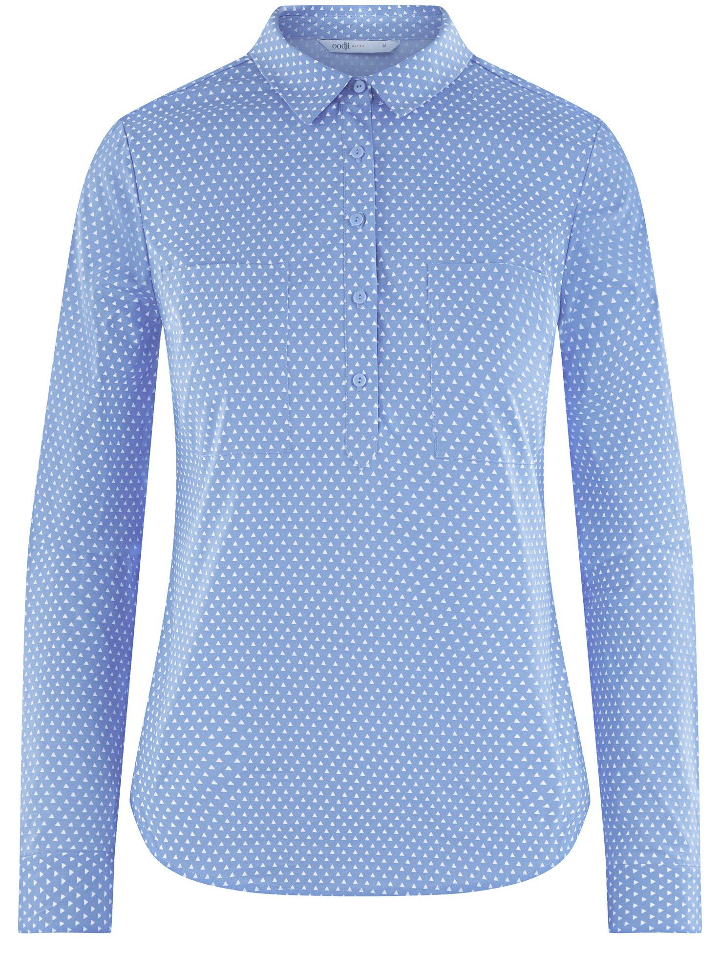 Рубашка базовая с нагрудными карманами oodji для женщины (синий), 11403222B/42468/7510G