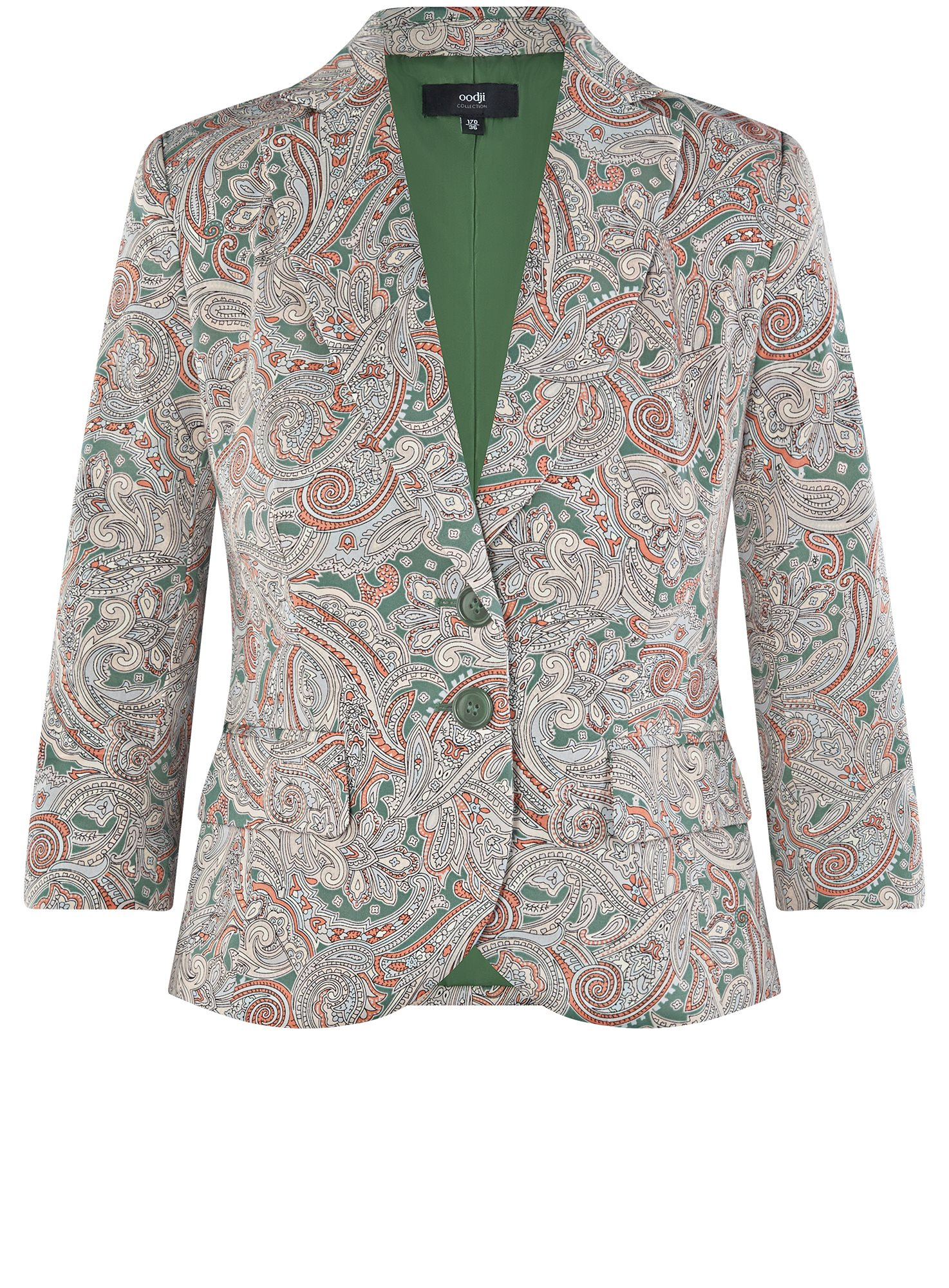 Жакет хлопковый приталенный oodji для женщины (зеленый), 21203085-1B/14522/6955E