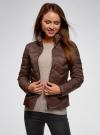 Куртка стеганая с воротником-стойкой oodji для женщины (коричневый), 10203063/18268/3900N - вид 2
