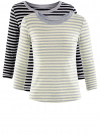 Комплект футболок с длинным рукавом (2 штуки) oodji для женщины (серый), 14201005T2/46158/2050S