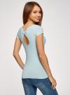 Комплект футболок с вырезом-капелькой на спине (3 штуки) oodji для женщины (синий), 14701026T3/46147/7000N - вид 3
