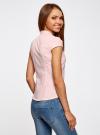 Рубашка с коротким рукавом из хлопка oodji для женщины (розовый), 11403196-1/18193/4000N - вид 3