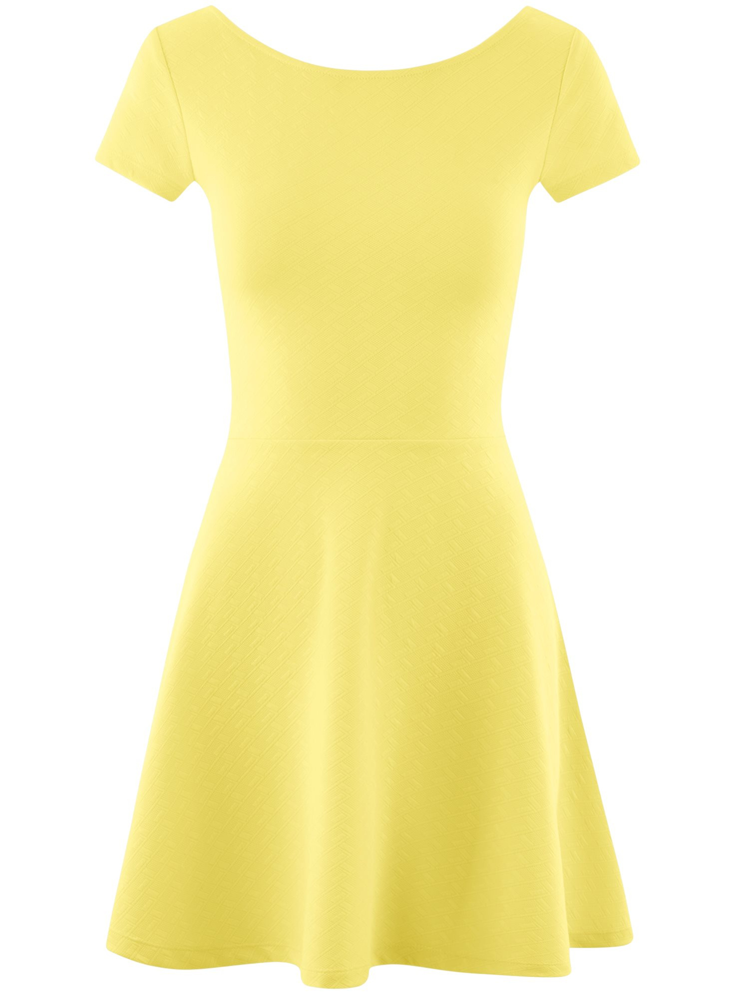 Платье приталенное с V-образным вырезом на спине oodji для женщины (желтый), 14011034B/42588/5001N