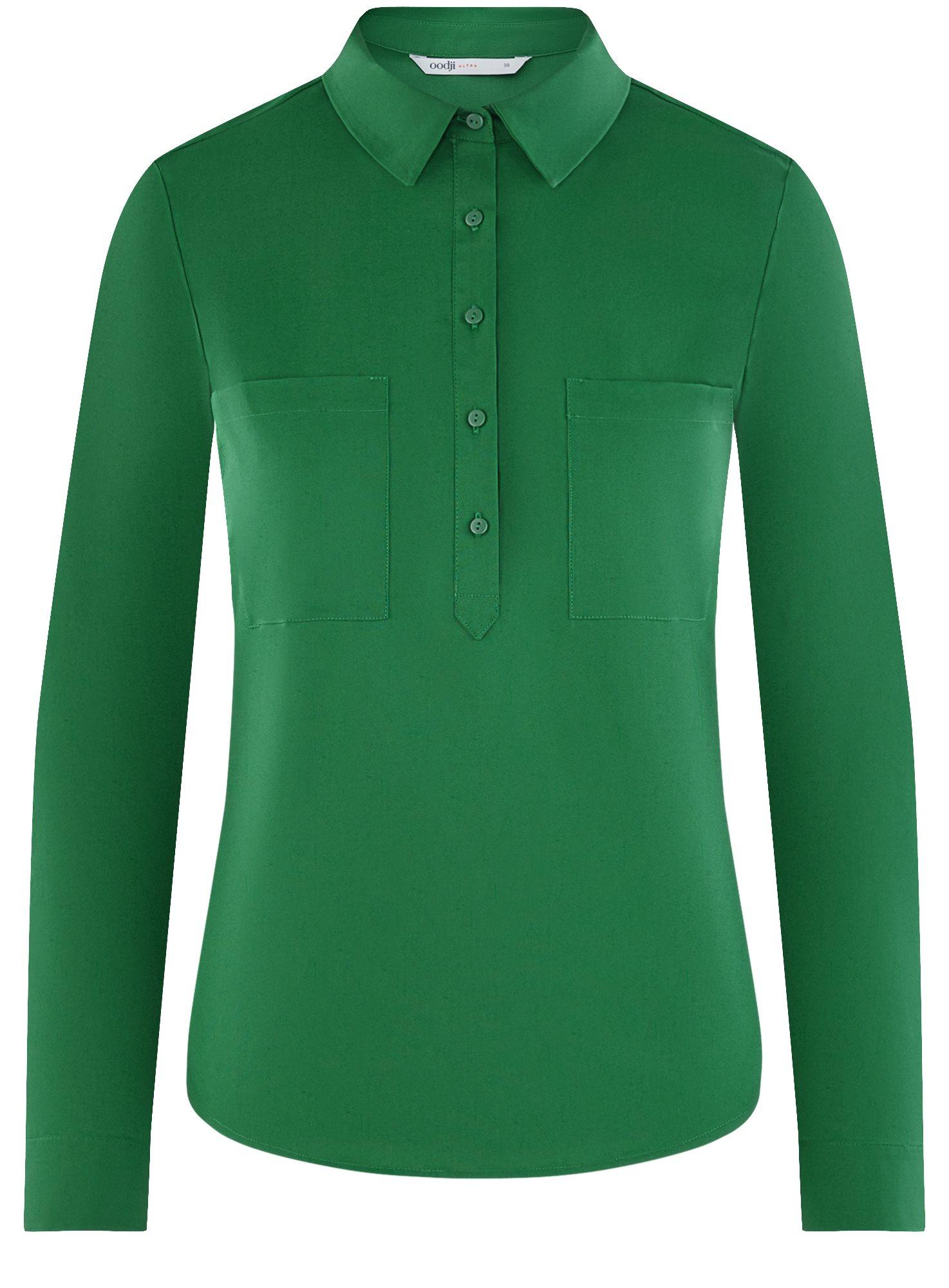 Рубашка базовая с нагрудными карманами oodji для женщины (зеленый), 11403222B/42468/6E00N