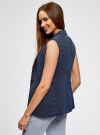 Жилет классический из фактурной ткани oodji для женщины (синий), 12300099-6/46373/7912D - вид 3