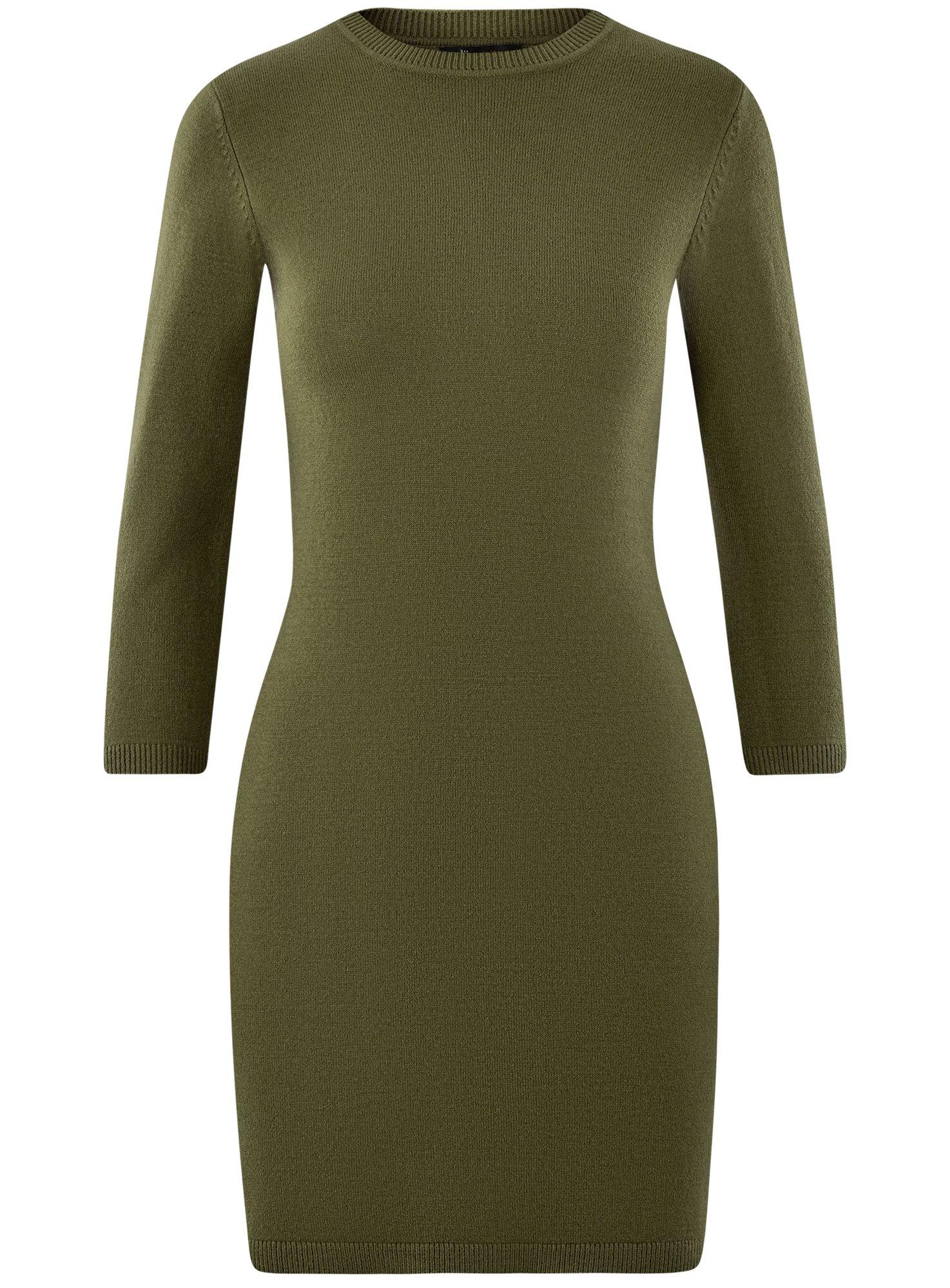 Платье вязаное с рукавом 3/4 oodji для женщины (зеленый), 63912222-2B/45109/6800N