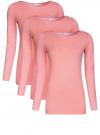 Футболка с длинным рукавом (комплект из 3 штук) oodji для женщины (розовый), 24201007T3/46147/4100N