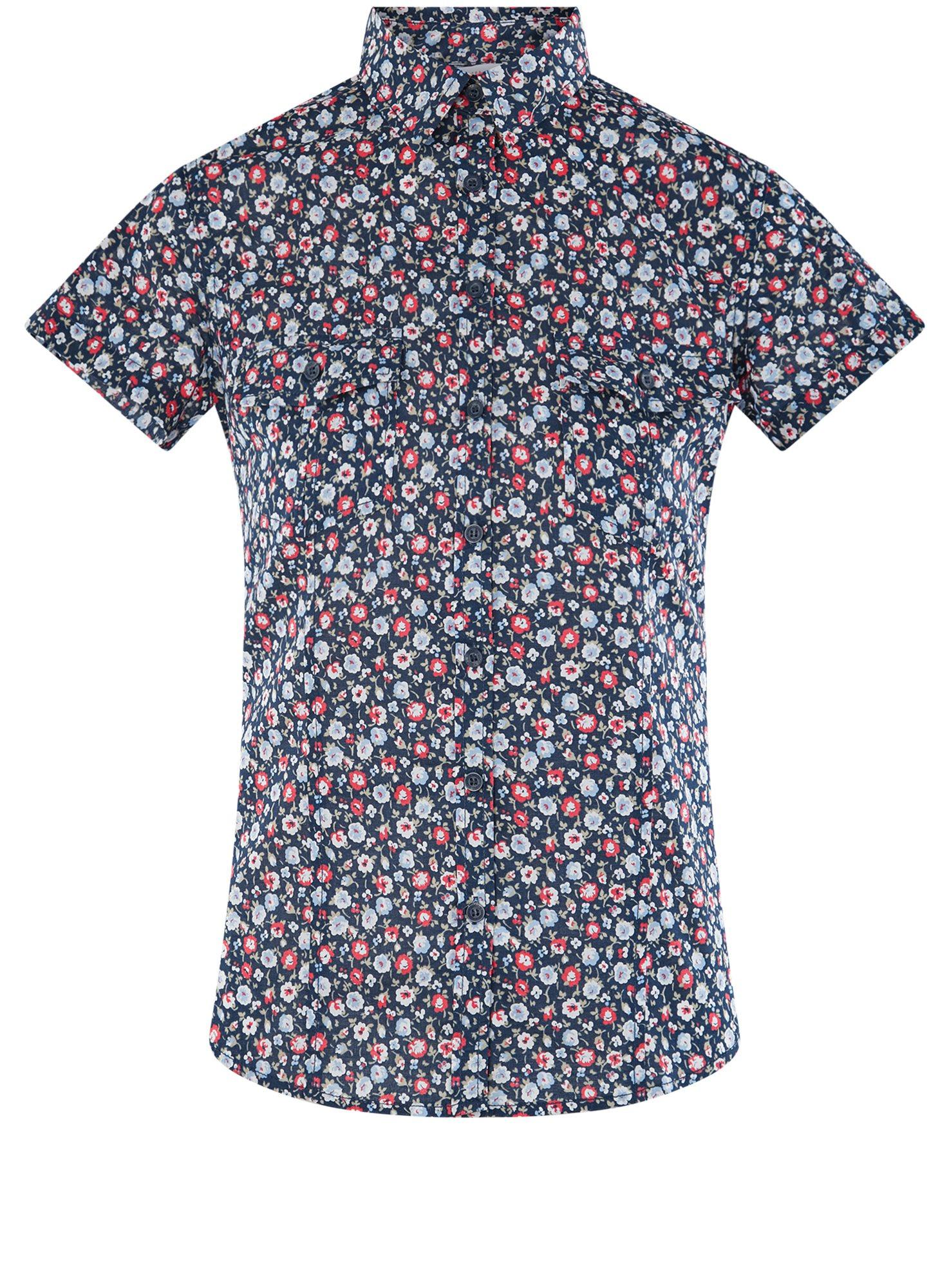 Рубашка хлопковая с нагрудными карманами oodji для женщины (синий), 11402084-3B/12836/7945F