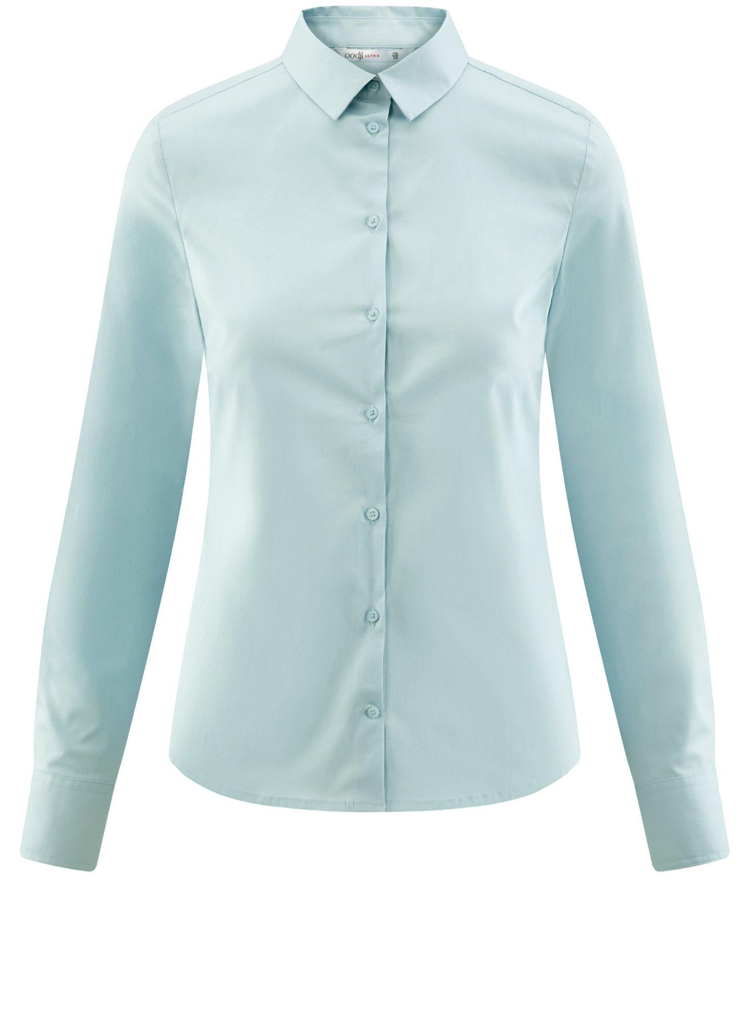 Рубашка базовая из хлопка oodji для женщины (синий), 11403227B/14885/7000N