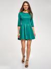 Платье трикотажное со складками на юбке oodji для женщины (зеленый), 14001148-1/33735/6D00N - вид 2