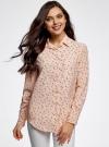 Блузка прямого силуэта с нагрудным карманом oodji для женщины (розовый), 11411134B/46123/4029G - вид 2