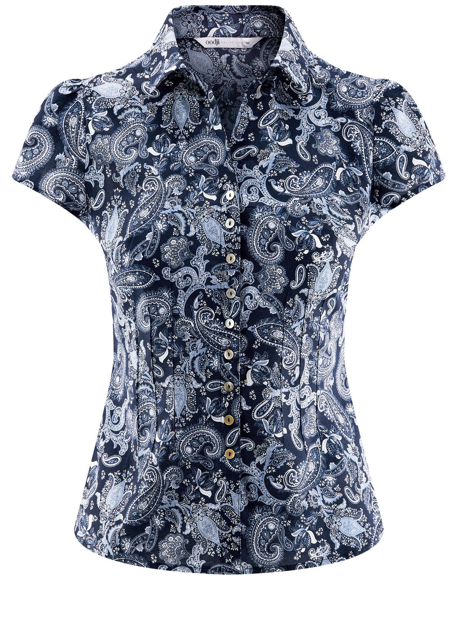 Блузка принтованная из легкой ткани oodji для женщины (синий), 21407022-9/12836/7974E