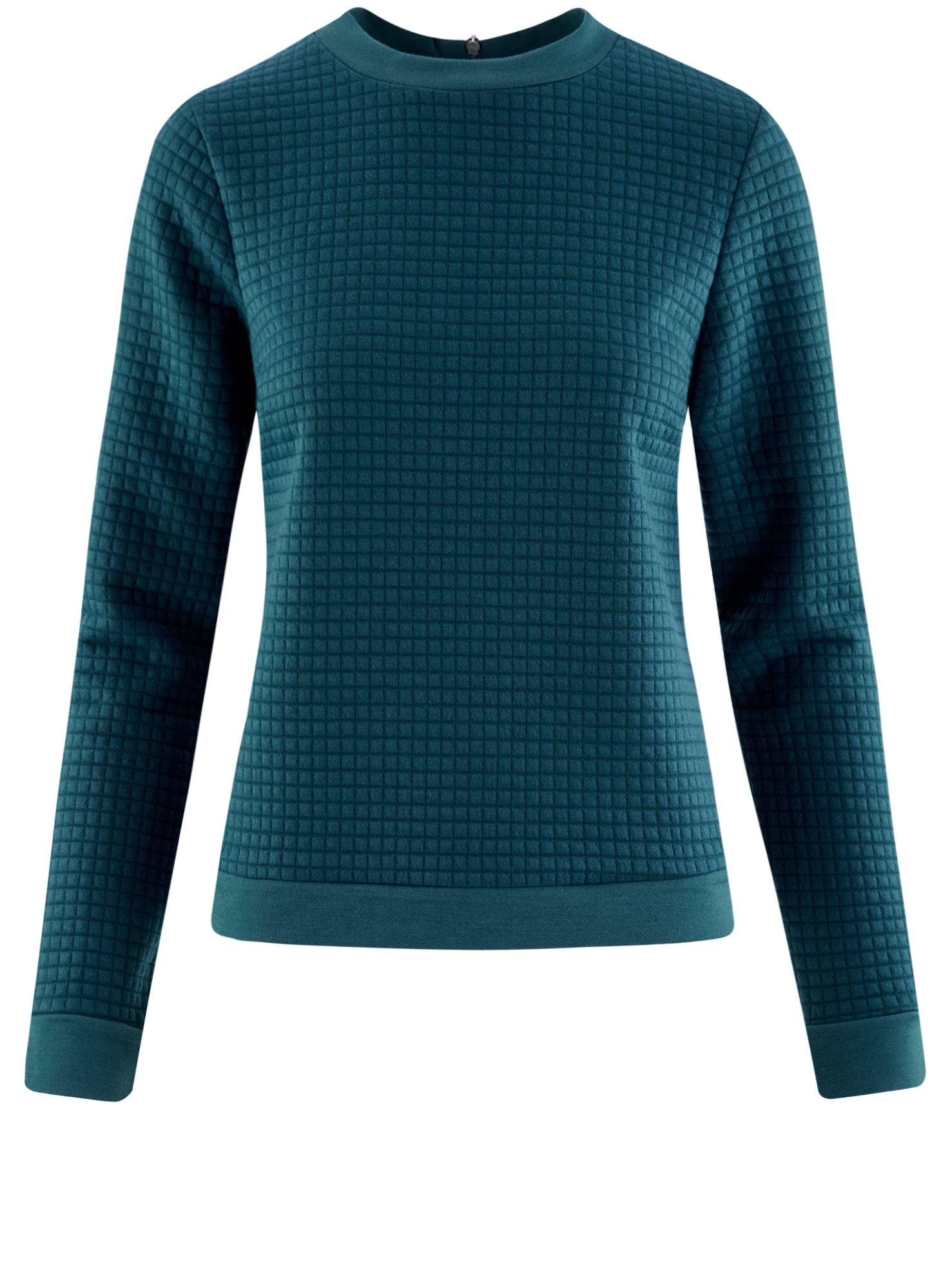 Свитшот из фактурной ткани с молнией на спине oodji для женщины (зеленый), 14801046/45949/6C00N