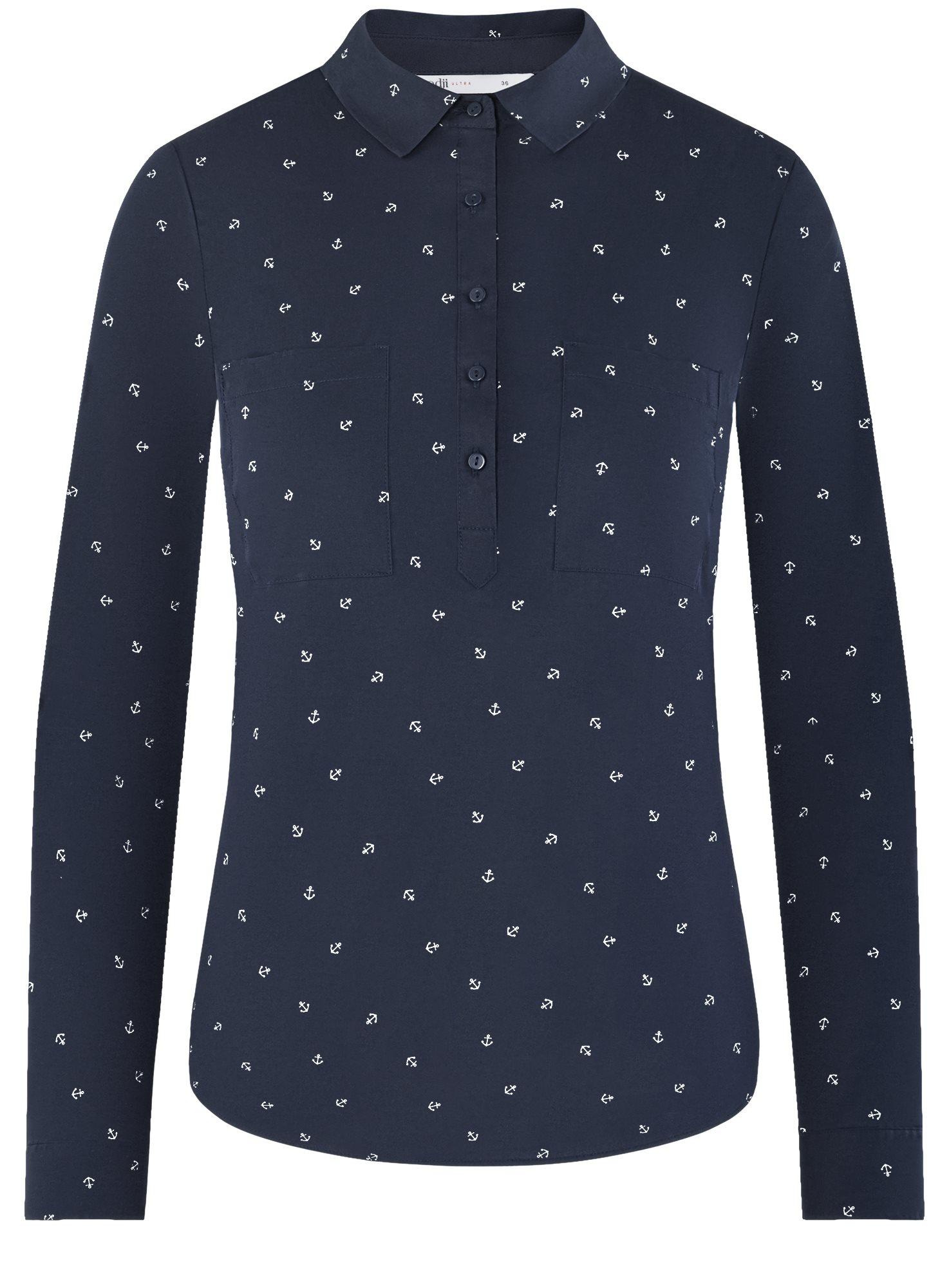 Рубашка с нагрудными карманами oodji для женщины (синий), 11403222-2/46292/7910O
