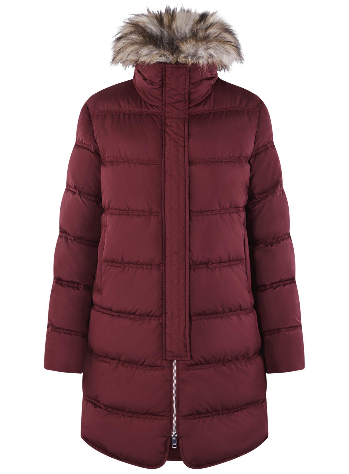 Куртка удлиненная с искусственным мехом на воротнике oodji для женщины (красный), 10203059-1/32754/4905N