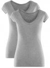 Комплект из двух базовых футболок oodji для женщины (серый), 14711002T2/46157/2000M - вид 6