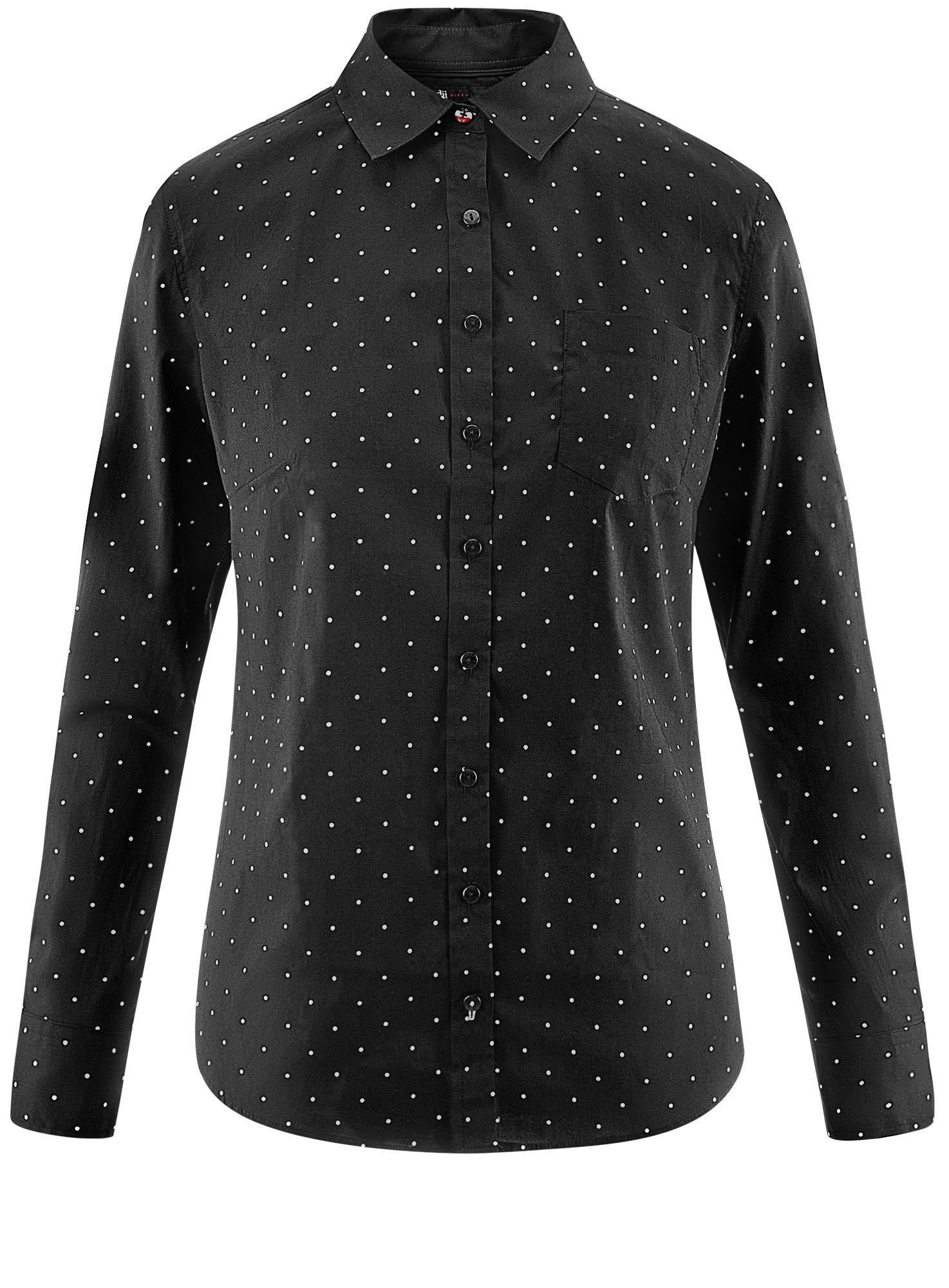 Рубашка базовая с одним карманом oodji для женщины (черный), 11403205-7/26357/2910D