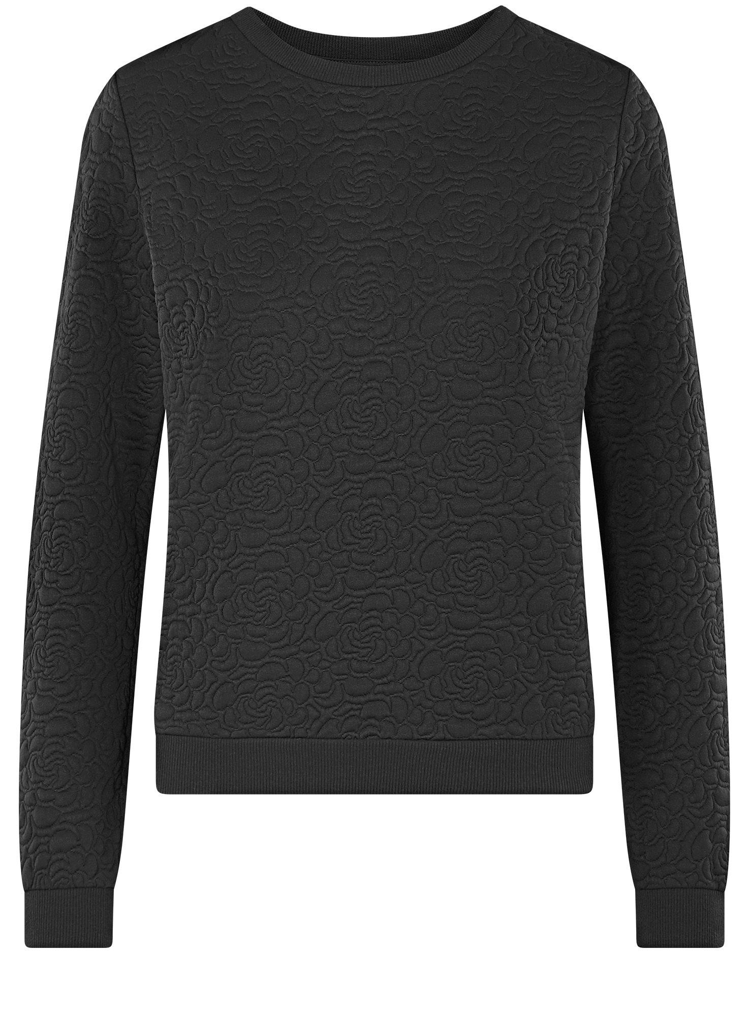 Свитшот базовый из фактурной ткани oodji для женщины (черный), 24801010-4/42316/2900N