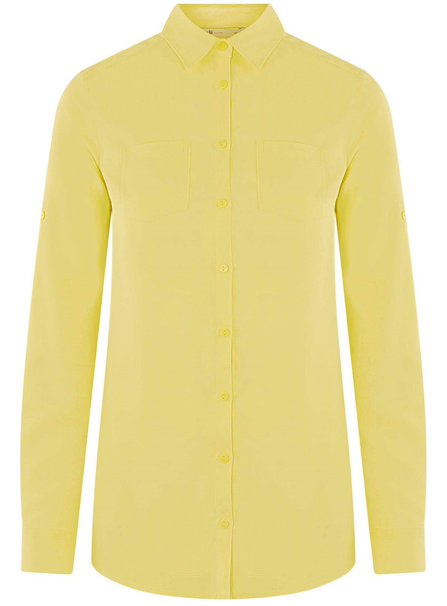 Блузка с нагрудными карманами и регулировкой длины рукава oodji для женщины (желтый), 11400355-3B/14897/6700N