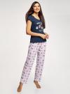 Пижама хлопковая с брюками oodji для женщины (синий), 56002074-1/46158/7941P - вид 6