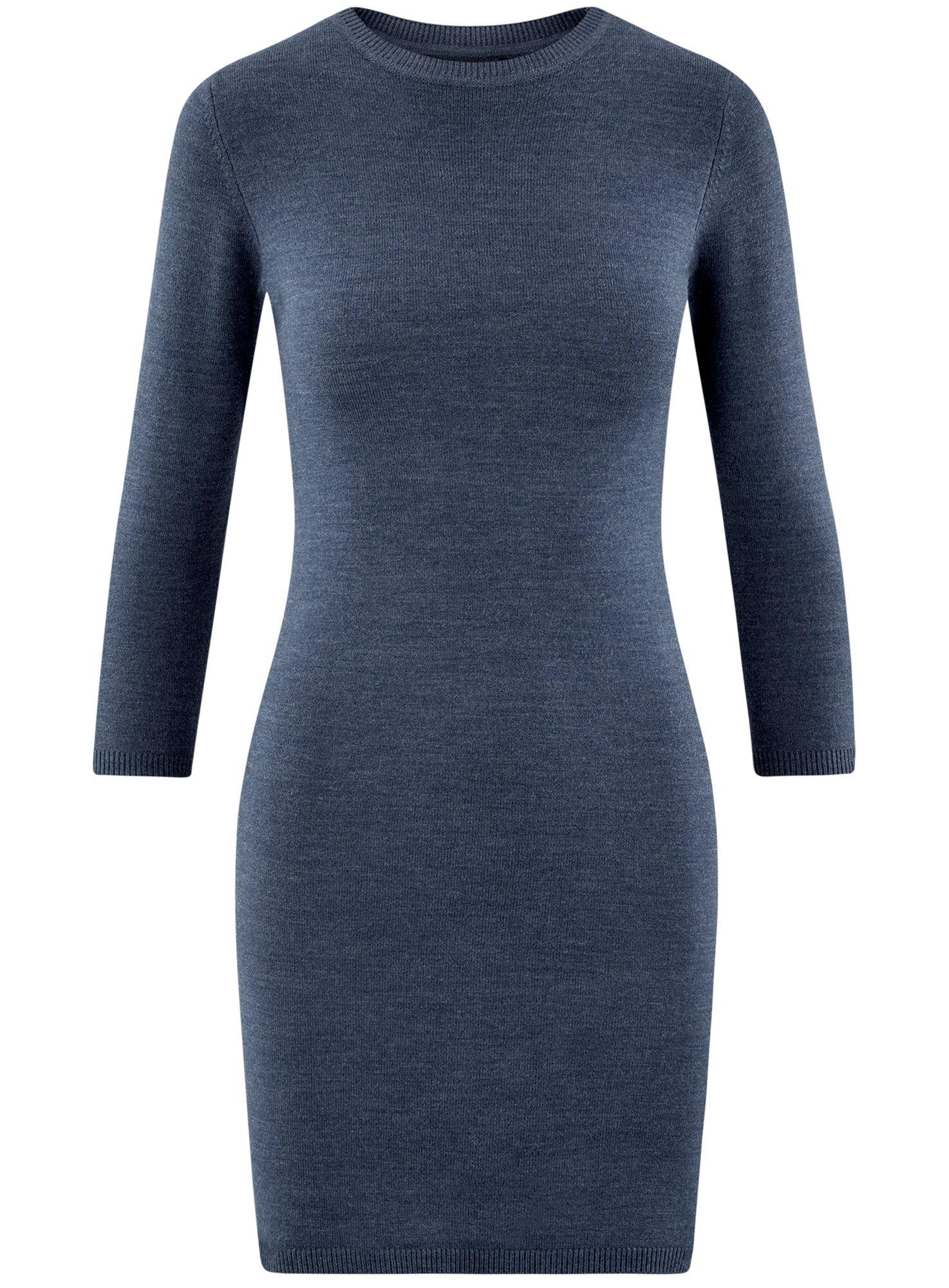 Платье базовое с рукавом 3/4 oodji для женщины (синий), 63912222-1B/46244/7500M