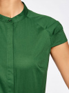 Рубашка с коротким рукавом из хлопка oodji для женщины (зеленый), 11403196-3/26357/6E00N - вид 5