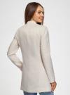 Пальто приталенное с косой застежкой oodji для женщины (слоновая кость), 10104044/45367/3000N - вид 3