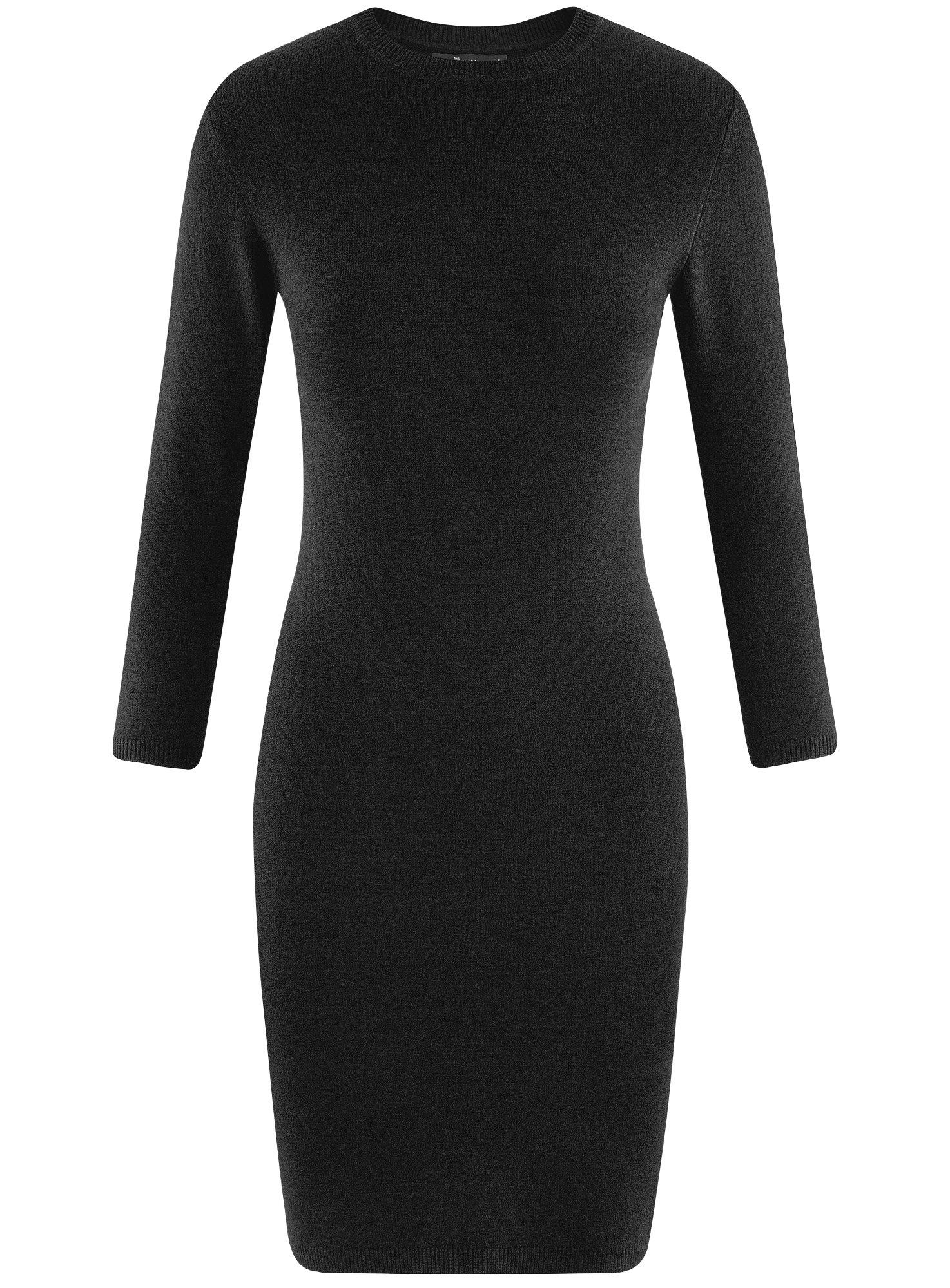 Платье базовое с рукавом 3/4 oodji для женщины (черный), 63912222-1B/46244/2900N