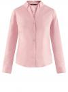 Рубашка приталенная с V-образным вырезом oodji для женщины (розовый), 11402092B/42083/4000N