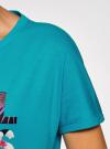 Футболка свободного силуэта с надписью oodji для женщины (бирюзовый), 24708003-2/46154/7319P - вид 5