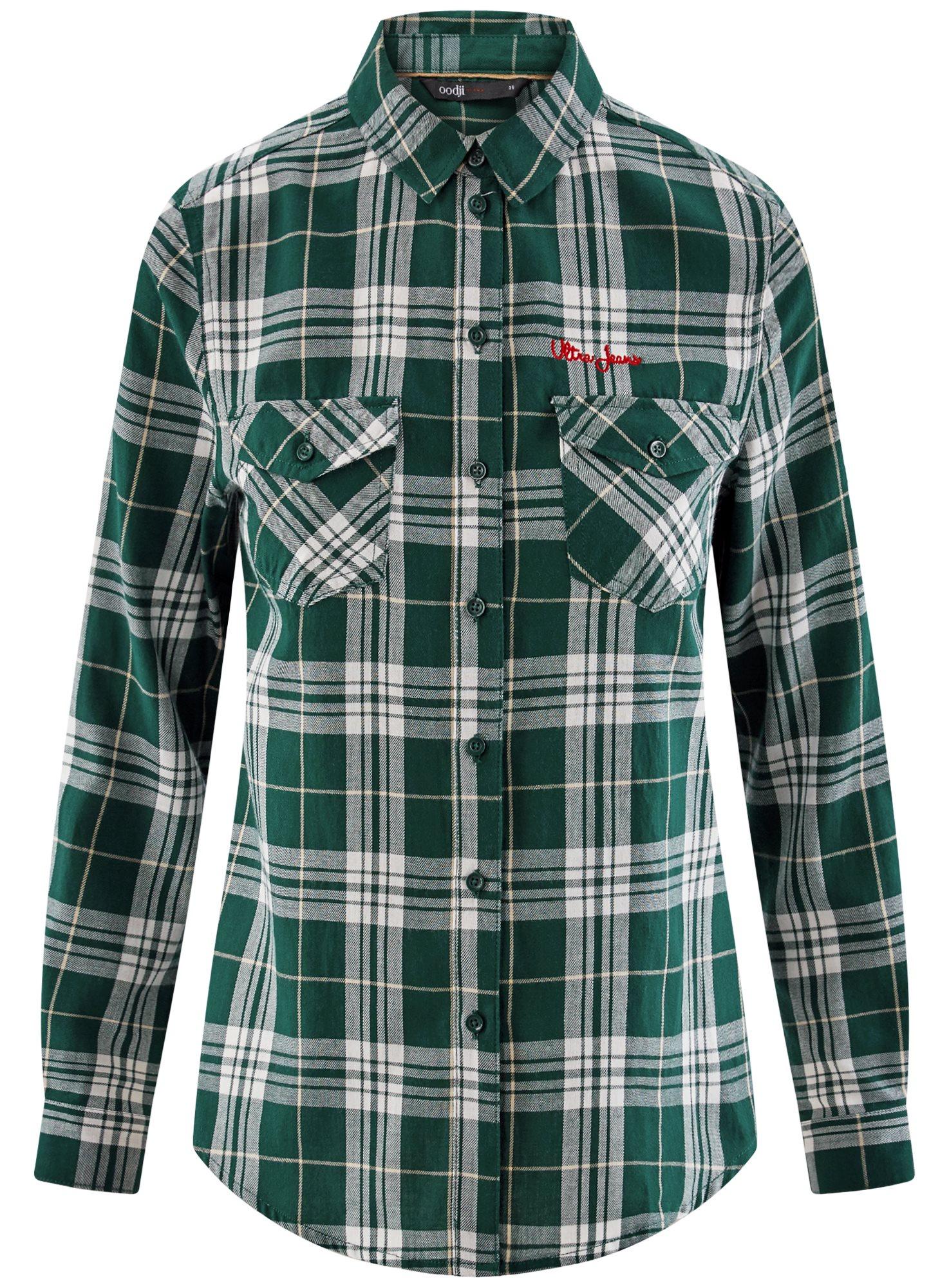 Рубашка в клетку с нагрудными карманами oodji для женщины (зеленый), 11400433/43223/6912C