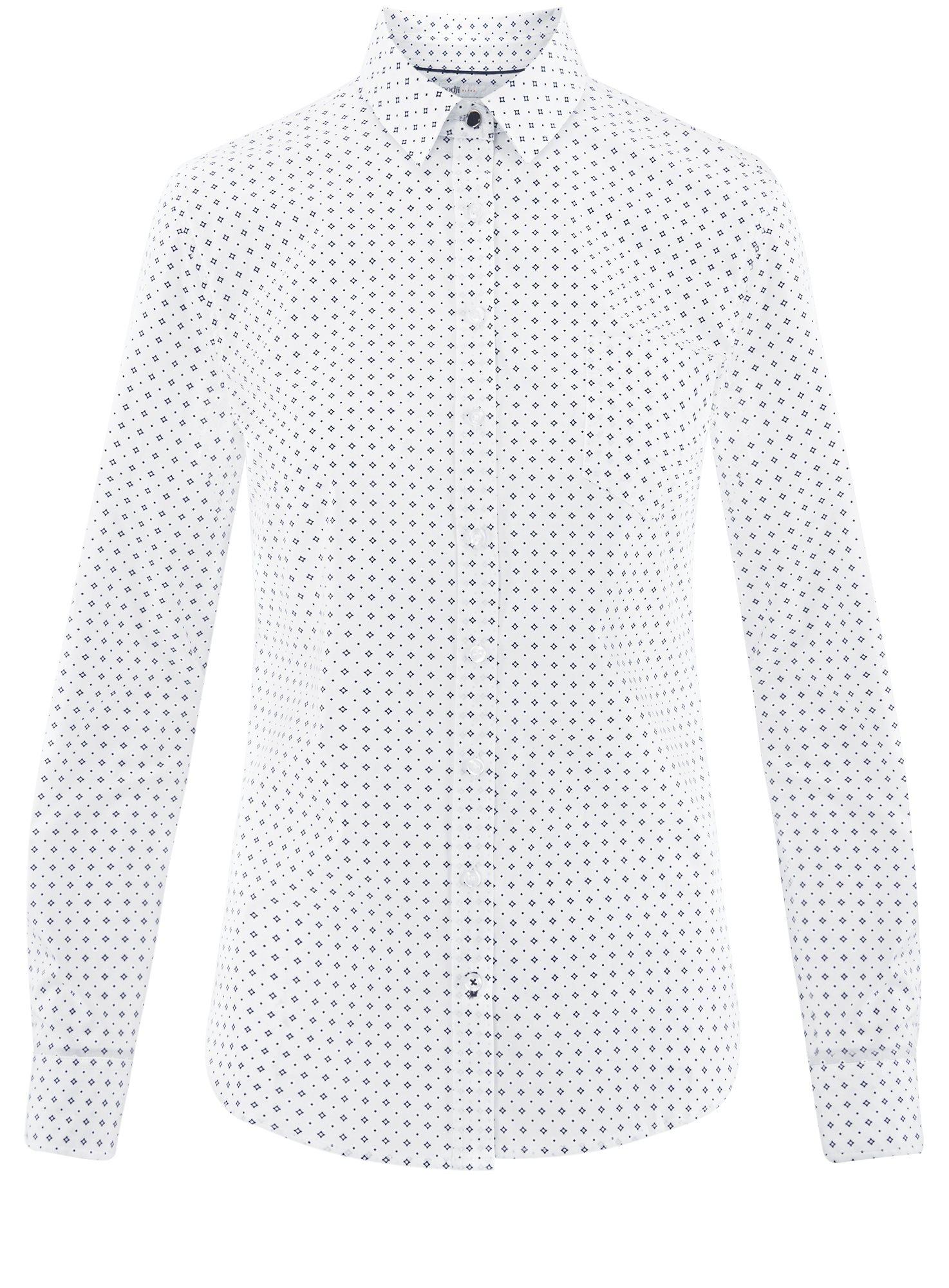 Рубашка базовая с нагрудным карманом oodji для женщины (белый), 11403205-9/26357/1075G
