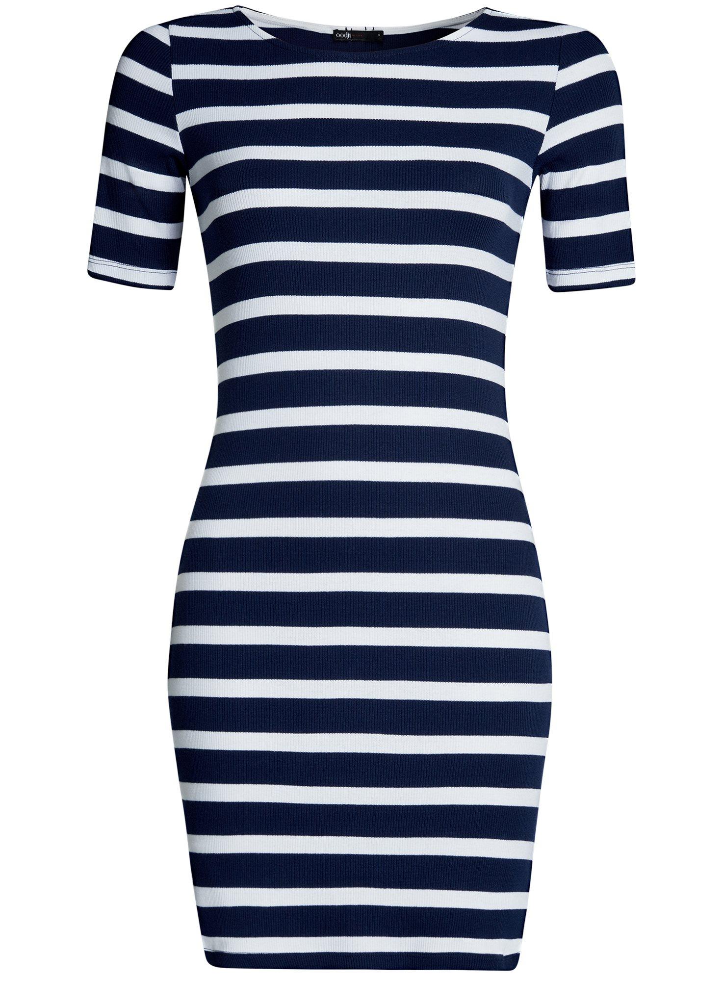 Платье прилегающего силуэта в рубчик oodji для женщины (синий), 14011012/45210/7910S