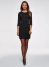 Платье из фактурной ткани с рукавом 3/4 oodji для женщины (черный), 24001100-1/42316/2900N - вид 2