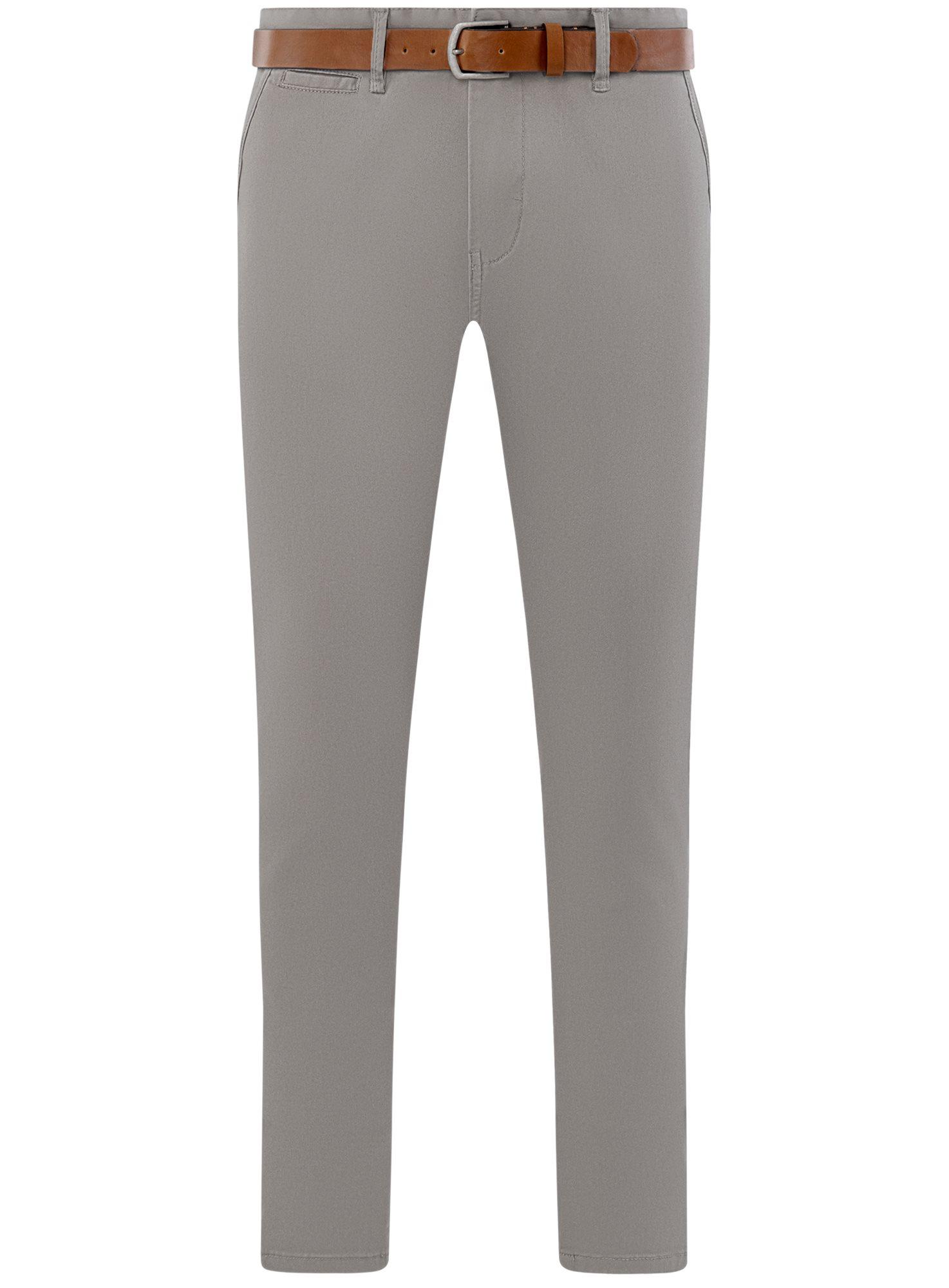 Брюки хлопковые с ремнем oodji для мужчины (серый), 2B150149M/39622N/2300N