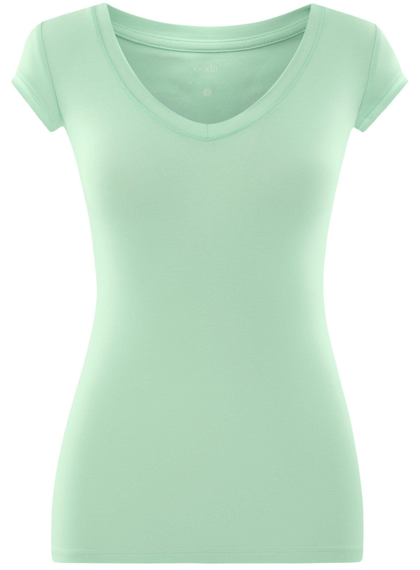 Футболка хлопковая с V-образным вырезом oodji для женщины (зеленый), 14711002-3/46157/6519P