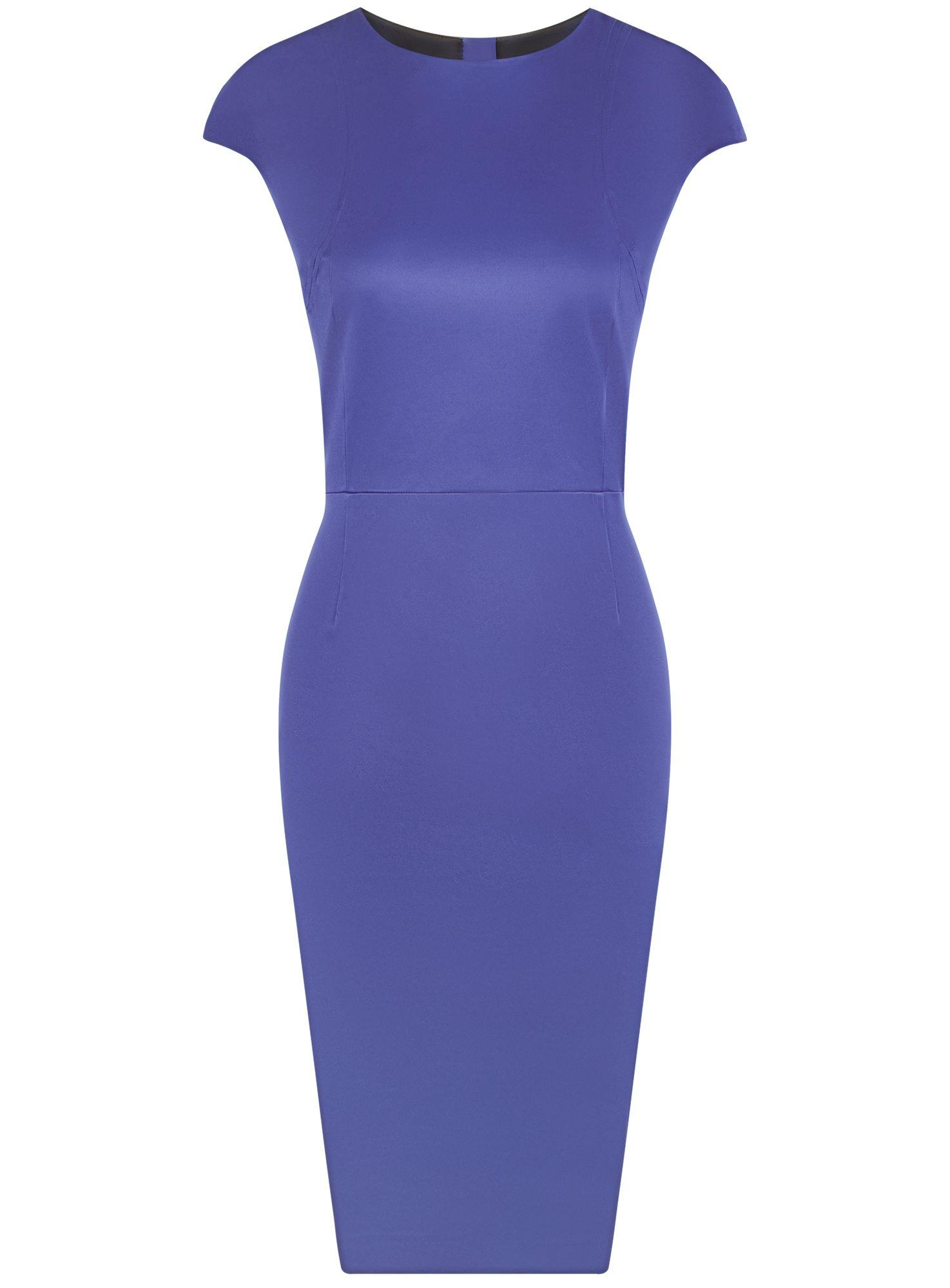 Платье-футляр с вырезом-лодочкой oodji для женщины (синий), 11902163-1/32700/7500N