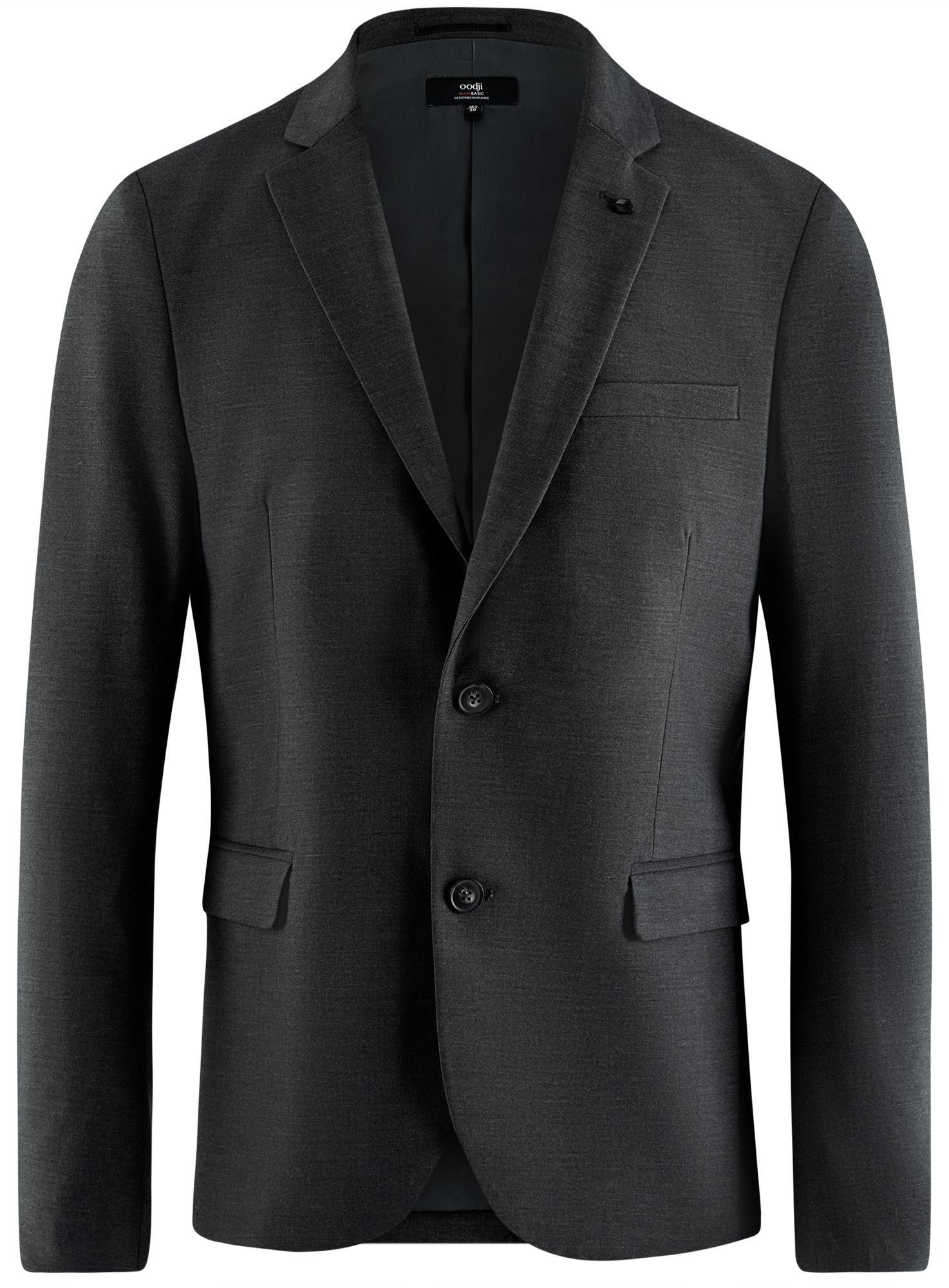 Пиджак базовый приталенный oodji для мужчины (серый), 2B420019M/44320N/2500M