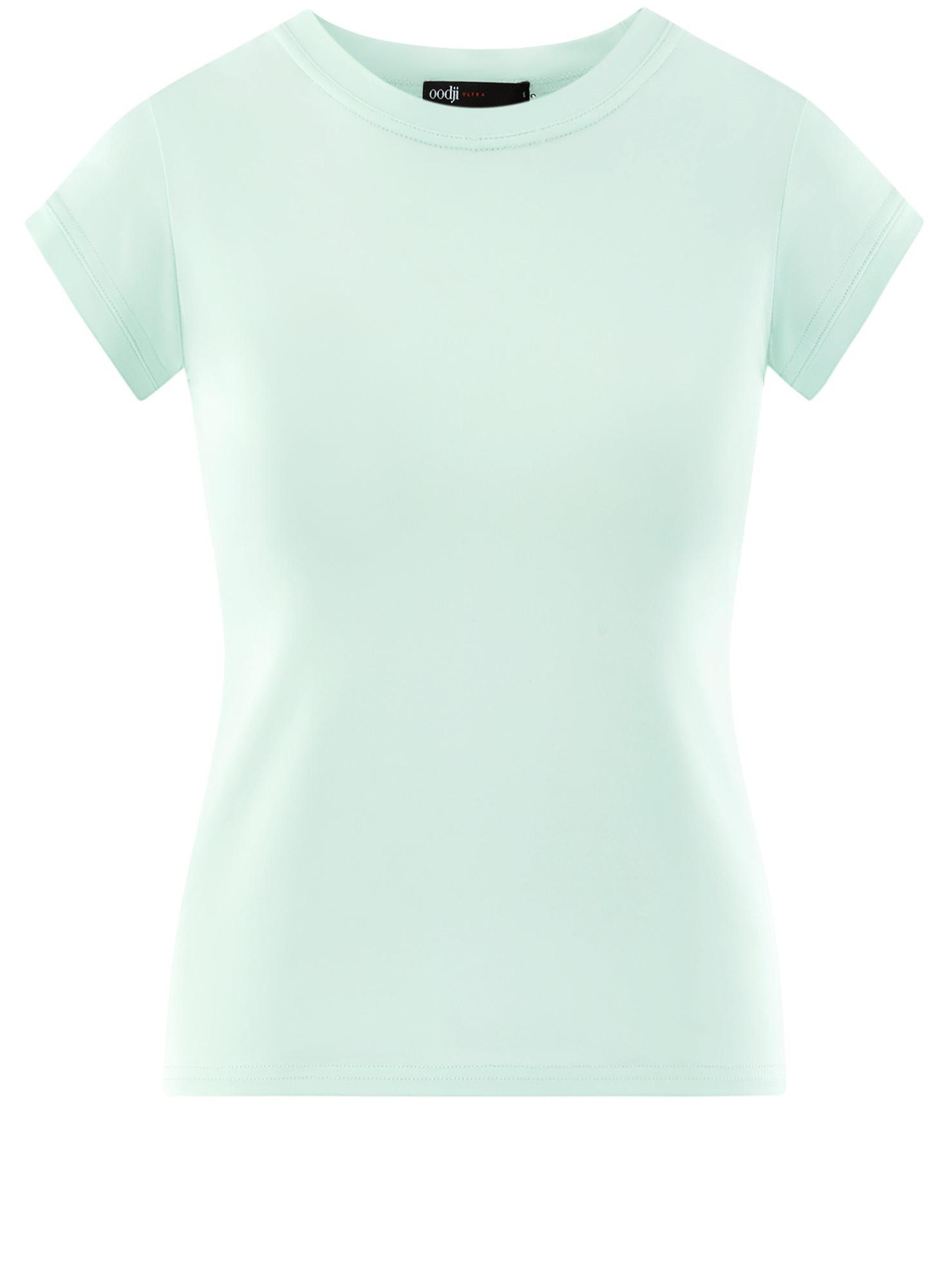 Футболка из эластичной ткани с круглым вырезом oodji для женщины (зеленый), 14711003-2B/45297/6500N