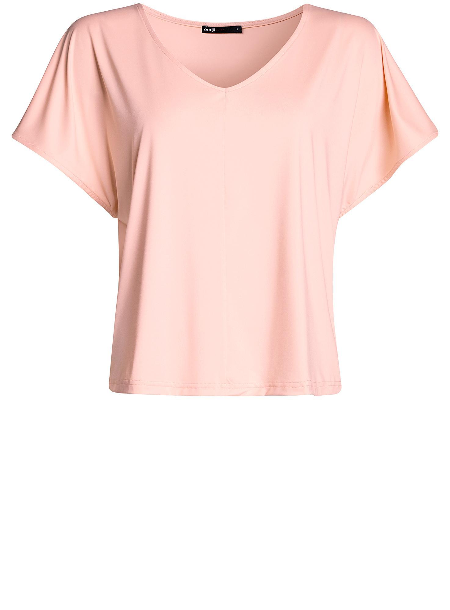 Футболка из струящейся ткани с V-образным вырезом oodji для женщины (розовый), 14708011/16300/5400N