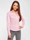 Рубашка приталенная с V-образным вырезом oodji для женщины (розовый), 11402092B/42083/4000N - вид 2