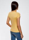 Футболка из эластичной ткани с круглым вырезом oodji для женщины (желтый), 14711003-2B/45297/5200N - вид 3