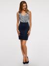 Платье трикотажное комбинированное oodji для женщины (синий), 14005124-1/42376/7912E - вид 2