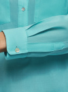 Рубашка хлопковая свободного силуэта oodji для женщины (бирюзовый), 11411101B/45561/7300N - вид 5