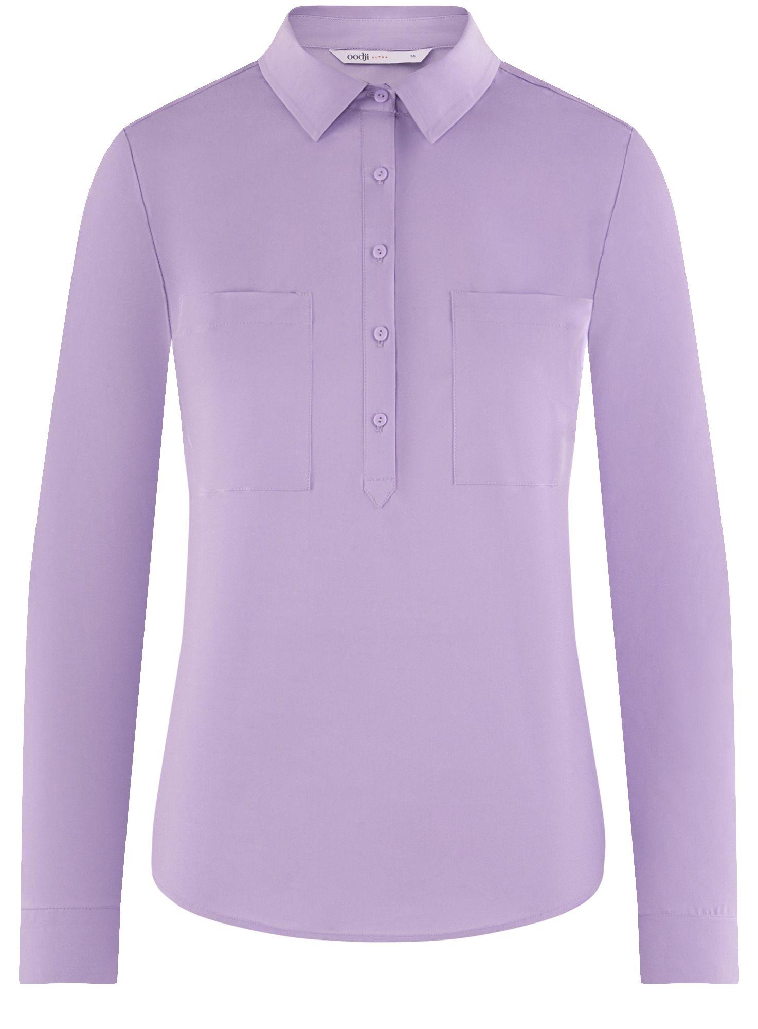 Рубашка базовая с нагрудными карманами oodji для женщины (фиолетовый), 11403222B/42468/8000N
