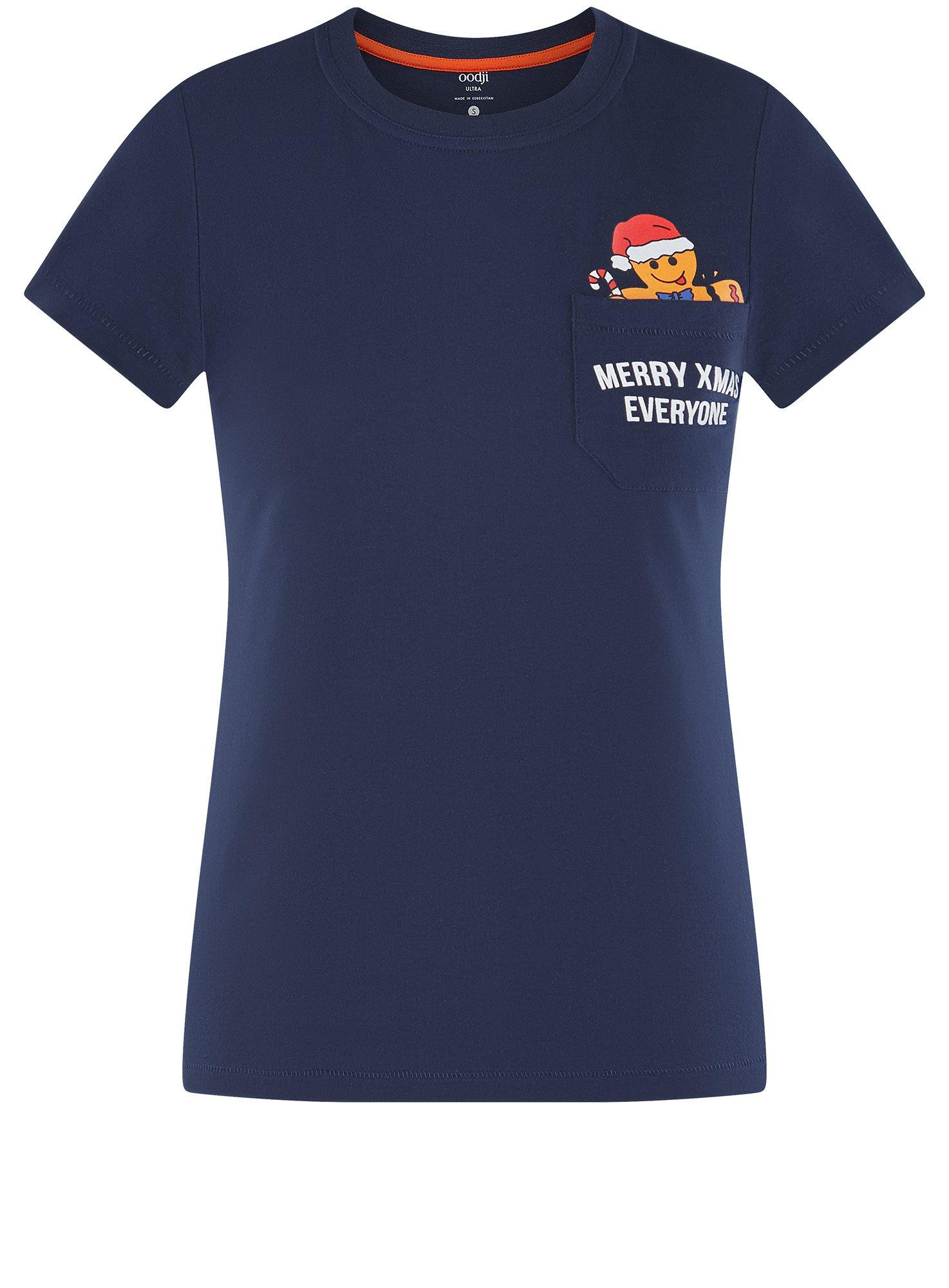 Футболка хлопковая с карманом на груди oodji для женщины (синий), 14701078-6/48369/7919P