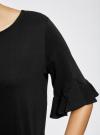 Футболка хлопковая с воланами на рукавах oodji для женщины (черный), 14201039B/48471/2900N - вид 5