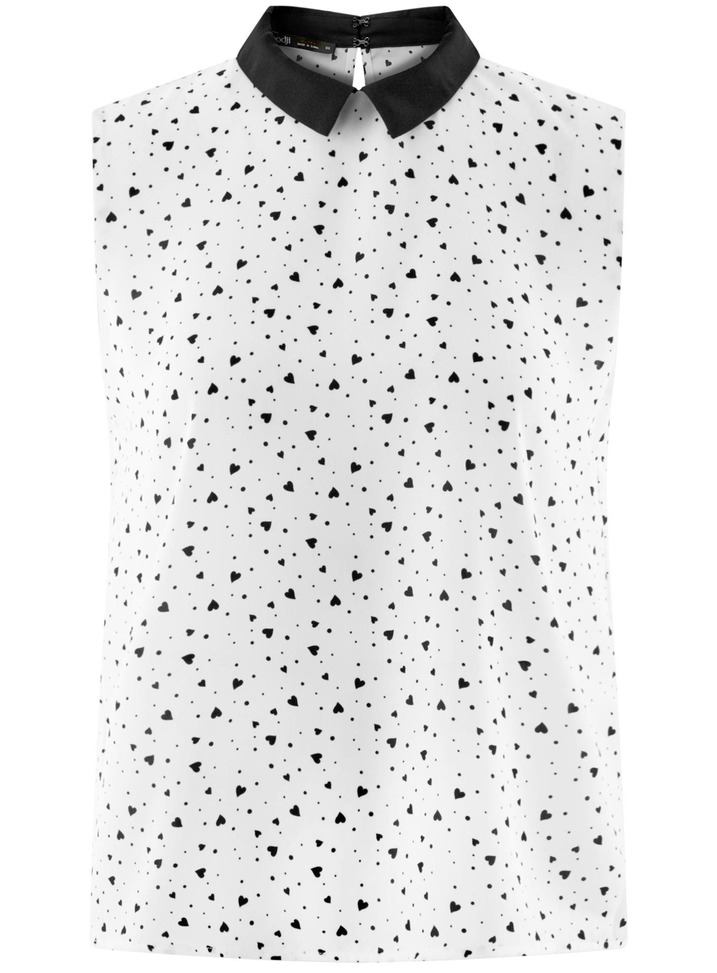 Топ базовый из струящейся ткани oodji для женщины (слоновая кость), 14911006-2B/43414/1229O