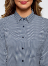Блузка прямого силуэта с нагрудным карманом oodji для женщины (синий), 11411134B/46123/7912G - вид 4