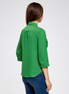 Блузка из струящейся ткани с регулировкой длины рукава oodji для женщины (зеленый), 11403225-1B/45227/6A00N - вид 3
